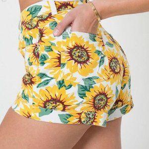 American Apparel High Rise Denim Sunflower Shorts